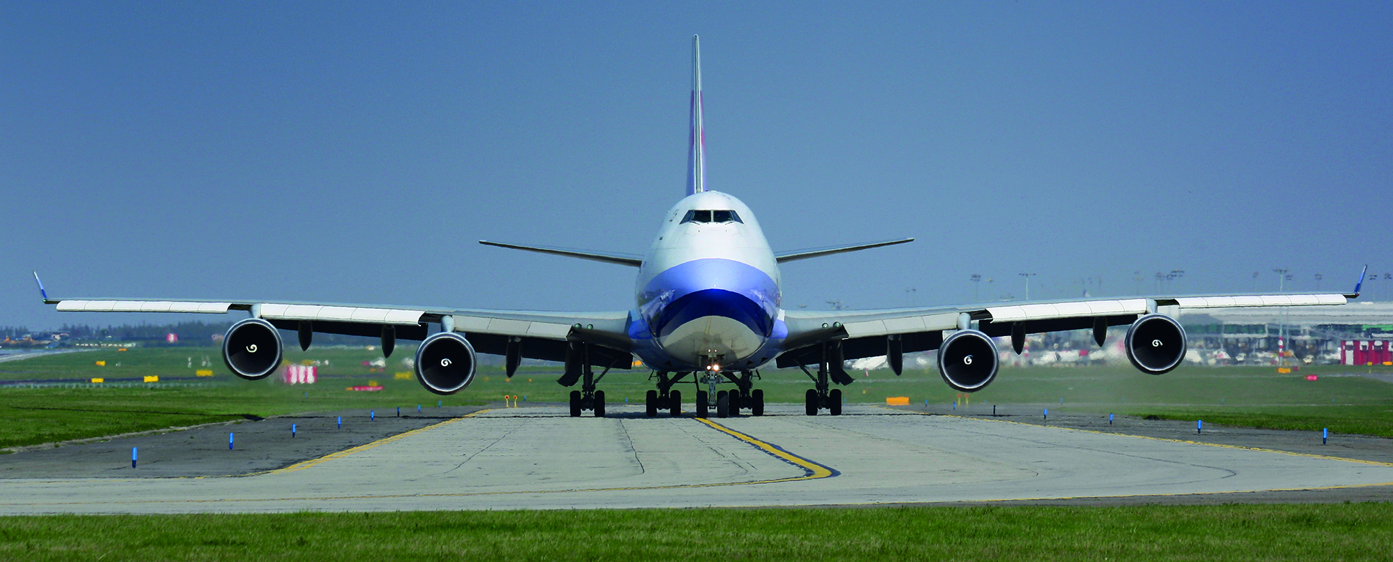 Huge cargo plane taxi to runway for take off